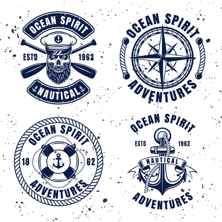 Nautical set vector emblems, labels, badges or logos in vintage style on background with removable textures
