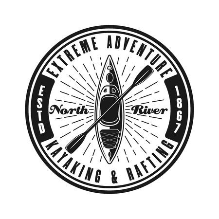 Kayaking round black vector emblem, label, badge or logo in vintage style isolated on white background