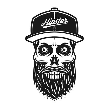 Bearded skull in baseball cap with inscription hipster vector monochrome illustration isolated on white background