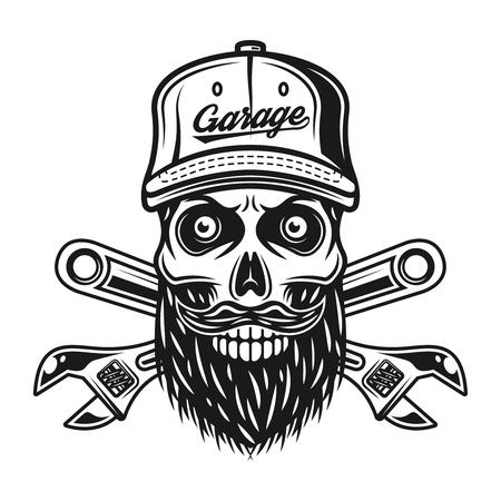 Bearded skull of mechanic in baseball cap with inscription garage and two crossed adjustable wrenches vector illustration isolated on white background