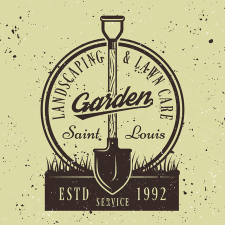 Gardening service vector round emblem or badge with shovel in soil on green colored background