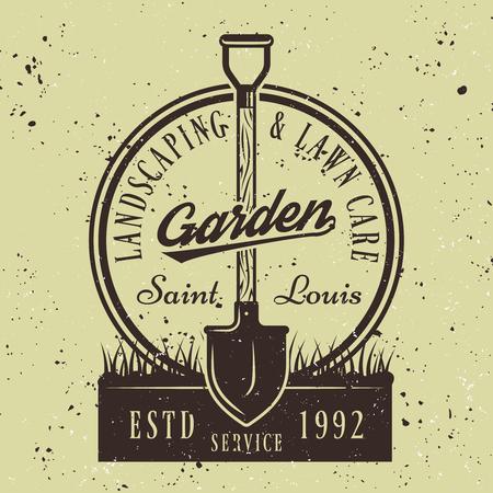 Vector de servicio de jardinería redondo emblema o insignia con pala en el suelo sobre fondo de color verde Ilustración de vector