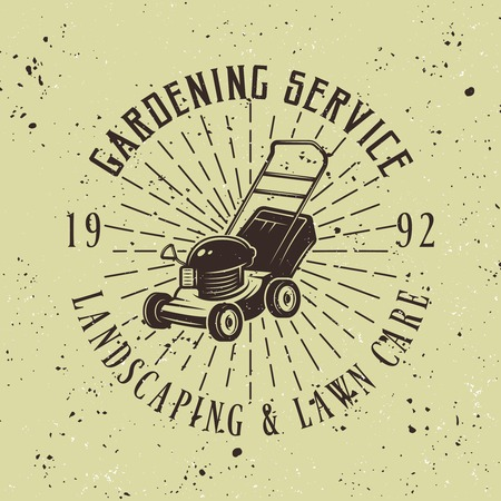 Gardening service vector colored emblem, badge, label or logo with lawn mower on green background, removable grunge textures
