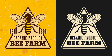 Beekeeping and honey set of two colored styles vector emblem, badge, label or logo on yellow and dark background