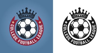 Soccer set of two styles emblems, badges, labels or logos for sport team vector illustration Illustration