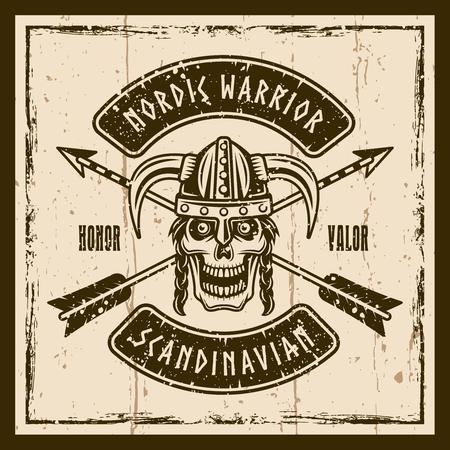Viking skull in horned helmet vector brown emblem, label, badge or t shirt print on background with grunge textures
