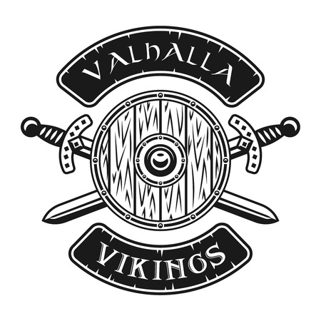 Viking shield and crossed swords vector emblem, label, badge, logo or t-shirt print in monochrome style isolated on white background