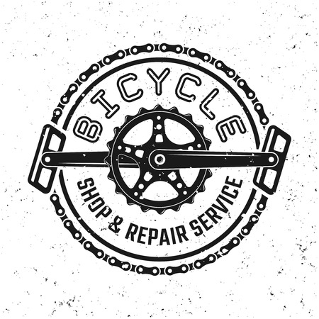 Bicycle pedals and chain vector round emblem, badge, label or logo in vintage style isolated on background with removable grunge textures