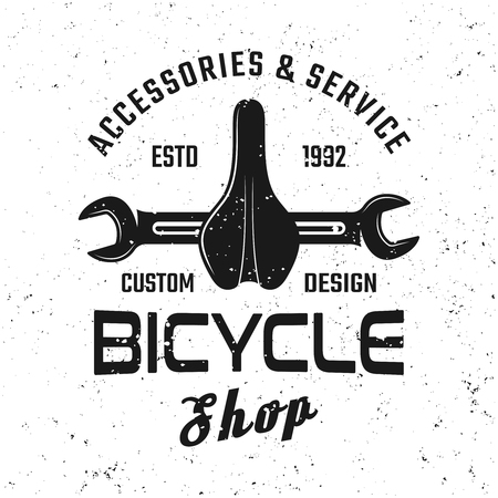 Bicycle service vector emblem, badge, label or logo with bike parts in vintage style isolated on white background Illustration