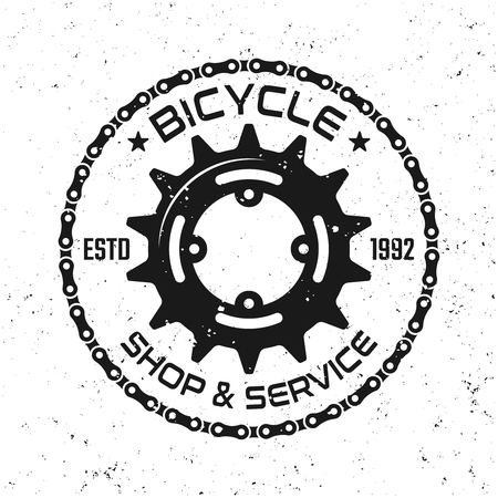 Bicycle repair service vector round emblem, badge, label or logo in vintage style isolated on background with removable grunge textures