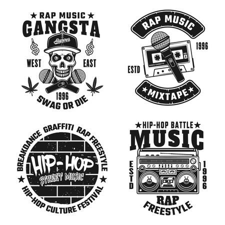 Set of four rap and hip-hop vector monochrome emblems, labels, badges or logos isolated on white background