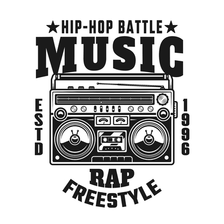 Boombox vector emblem, badge, label or logo with text hip-hop music battle. Vintage monochrome style illustration isolated on white background