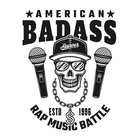 Rapper-Schädel und Text amerikanisches Badass-Vektoremblem, Abzeichen, Etikett oder Logo im Vintage-Monochrom-Stil isoliert auf weißem Hintergrund Logo