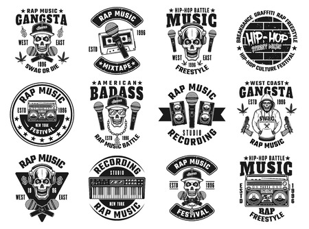 Rap and hip-hop set of twelve vector emblems, labels, badges or logos in monochrome style isolated on white background 矢量图像