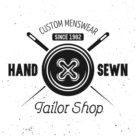 Clothes button and two crossed needles vector black emblem, label, badge or logo in vintage style with text hend sewn isolated on white background