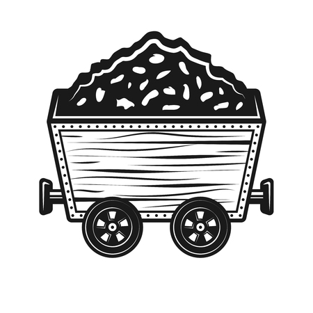 Rail trolley with ore stones vector object or design element in vintage monochrome style isolated on white background Illustration