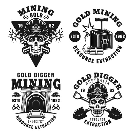 Goldminer company and precious metal extraction set of four vector monochrome emblems, badges, labels or logos in vintage style isolated on white background