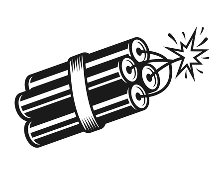 Stack of burning dynamite vector illustration in vintage monochrome style isolated on white background