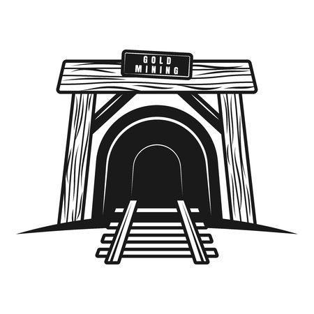 Tunnel with railway or entrance in mine shaft vector object, design element in vintage monochrome style isolated on white background