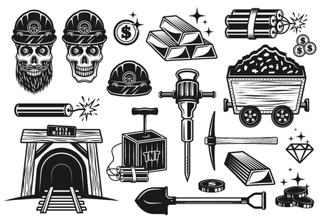 Gold mining and treasure digging set of vector objects or design elements in vintage monochrome style isolated on white background Illustration
