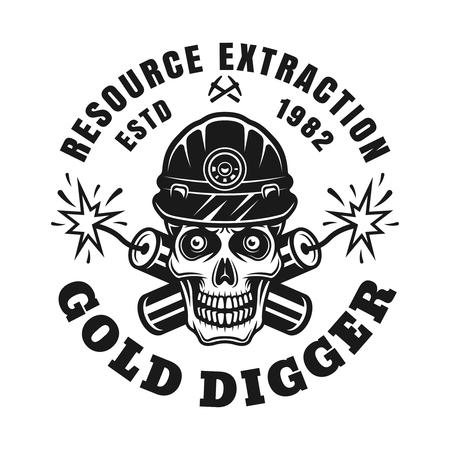 Cráneo de minero de oro y dos dinamitas cruzadas vector emblema monocromo, insignia, etiqueta o logotipo en estilo vintage aislado sobre fondo blanco. Logos