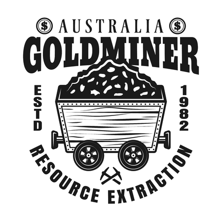 Gold mining vector monochrome emblem, badge, label or logo with full rail trolley of valuable minerals in vintage style isolated on white background Illustration