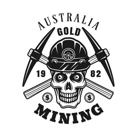 Teschio d'oro minier e picconi incrociati vettoriale emblema monocromatico, distintivo, etichetta o logo in stile vintage monocromatico isolato su sfondo bianco