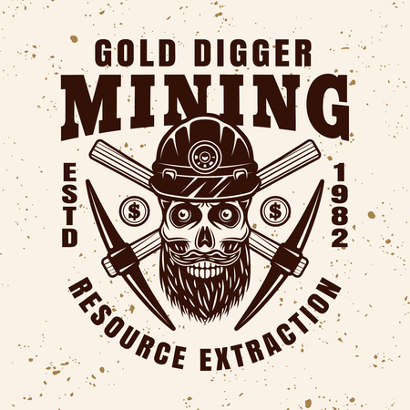Gold digger bearded skull in helmet and crossed pickaxes vector emblem, badge, label or logo in vintage style on background with grunge texture
