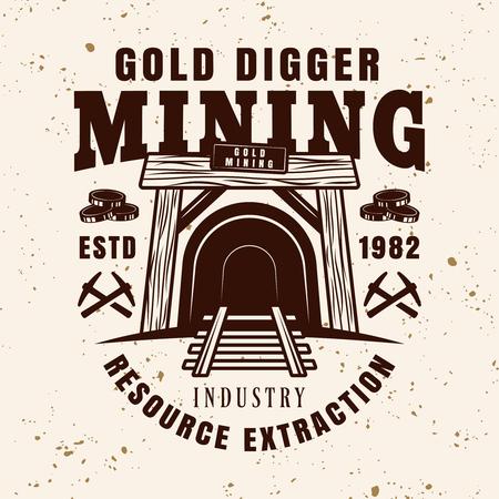 Ingresso nell'emblema del vettore dell'albero della miniera, distintivo, etichetta o logo per la società mineraria di metalli preziosi in stile vintage su sfondo con texture grunge Logo