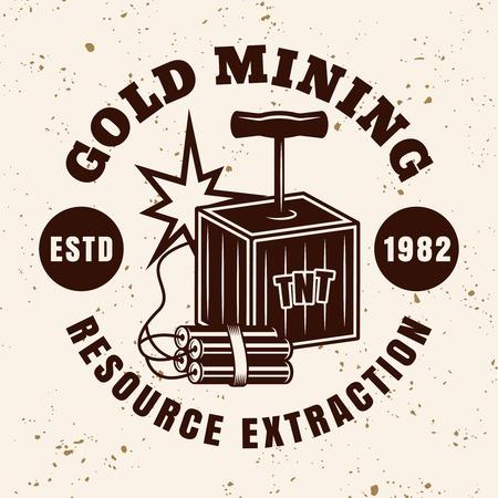 Dinamita manejar detonador vector emblema, insignia, etiqueta o logotipo para empresa minera de metales preciosos en estilo vintage sobre fondo con textura grunge