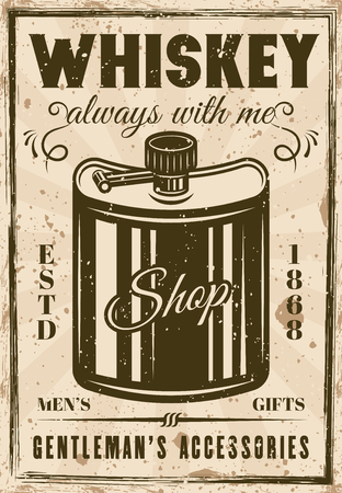 Hip flask for whiskey vintage advertising poster for gentleman's gift shop vector illustration. Grunge textures and text on separate layers