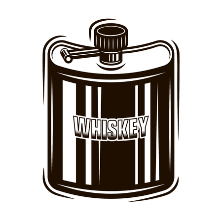 Pocket hip flask for whiskey or other distilled beverages vector black illustration in vintage style isolated on white background