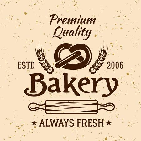 Bakery vintage vector emblem, label, badge or logo with pretzel and rolling pin on light colored background Ilustrace