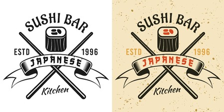 Sushi bar and japanese cuisine vintage badge, emblem, label or logo in two styles black and colored vector illustration Çizim