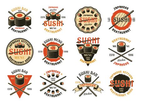 Sushi conjunto de doce emblemas vectoriales de colores, etiquetas, insignias o logotipos aislados sobre fondo blanco Logos
