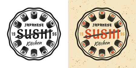 Sushi two style black and colored vintage round badge, emblem, label or logo vector illustration Çizim