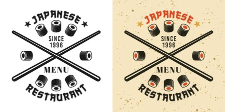 Crossed chopsticks and sushi rolls vintage badge, emblem, label or logo in two styles black and colored vector illustration