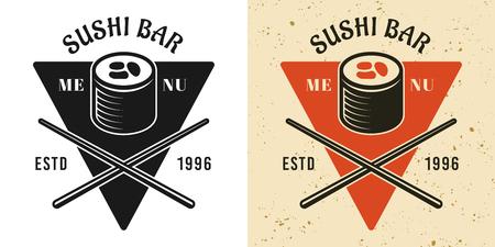 Sushi menu vintage badge, emblem, label or logo in two styles black and colored vector illustration