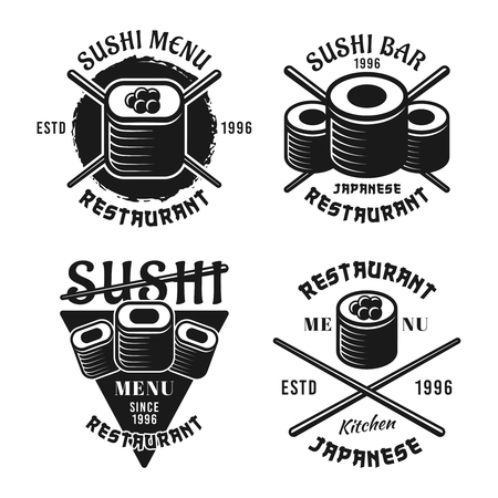Set of four sushi vector emblems, labels, badges or logos in vintage monochrome style isolated on white background