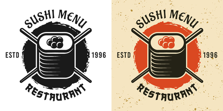 Sushi menu and japanese cuisine two style black and colored vintage badge, emblem, label or logo vector illustration