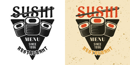 Three pieces of sushi roll vintage badge, emblem, label or logo in two styles black and colored vector illustration
