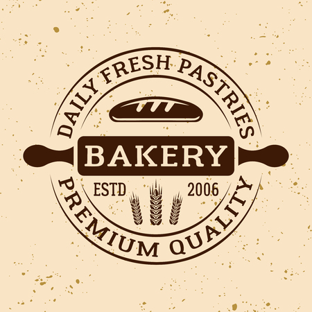 Bakery vintage vector round emblem, label, badge or logo with rolling pin on light colored background
