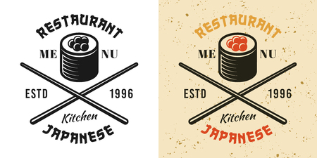 Sushi roll and crossed chopsticks two style black and colored vintage badge, emblem, label or logo vector illustration