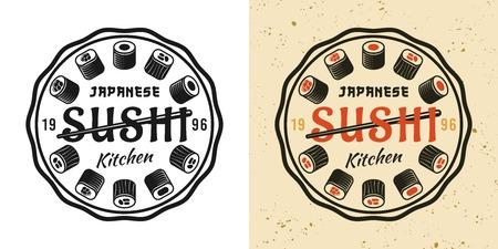 Sushi two style black and colored vintage round badge, emblem, label or logo vector illustration Çizim