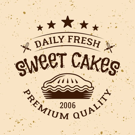 Bakery vintage vector emblem, label, badge or logo with pie on light colored background Ilustrace