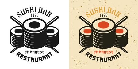 Sushi bar two style black and colored vintage badge, emblem, label or logo vector illustration