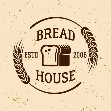 Bakery vintage vector emblem, label, badge or logo with bread and wheat on light colored background
