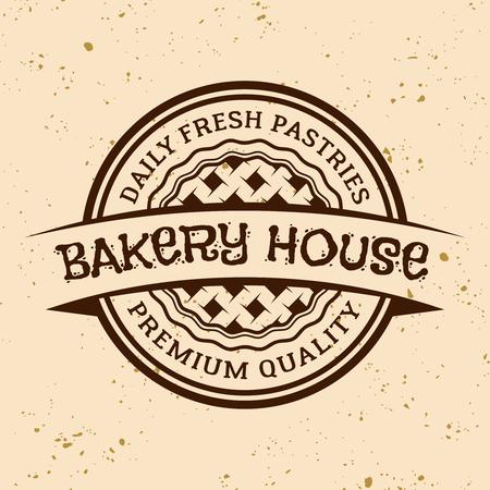 Bakery house vintage vector round emblem, label, badge or logo with pie on light colored background Banco de Imagens - 122557578