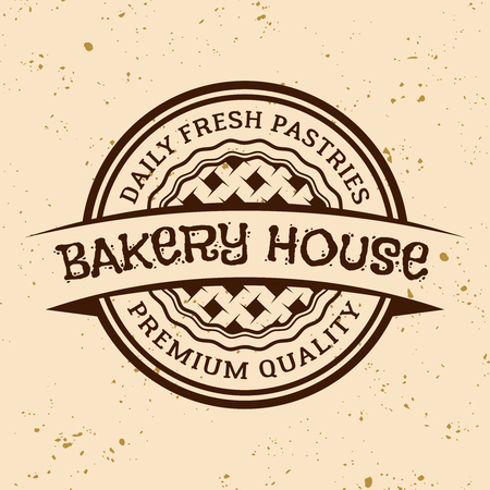 Bakery house vintage vector round emblem, label, badge or logo with pie on light colored background