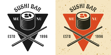 Sushi menu vintage badge, emblem, label or logo in two styles black and colored vector illustration